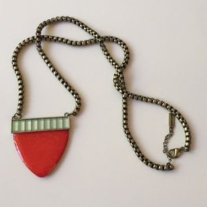 Orange Red Art Deco Long Necklace
